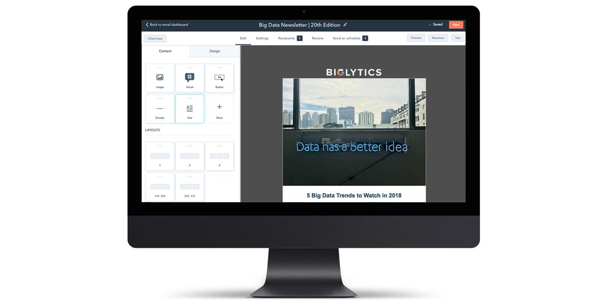 Ilmainen HubSpot CRM sisältää myös sähköpostimarkkinoinnin työkalut